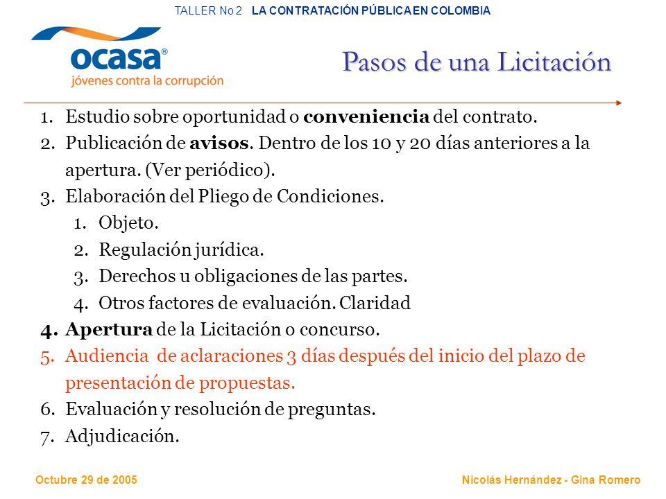 Octubre 29 de 2005 TALLER No 2 LA CONTRATACIÓN PÚBLICA EN COLOMBIA Nicolás Hernández - Gina Romero Pasos de una Licitación 1.Estudio sobre oportunidad o conveniencia del contrato.