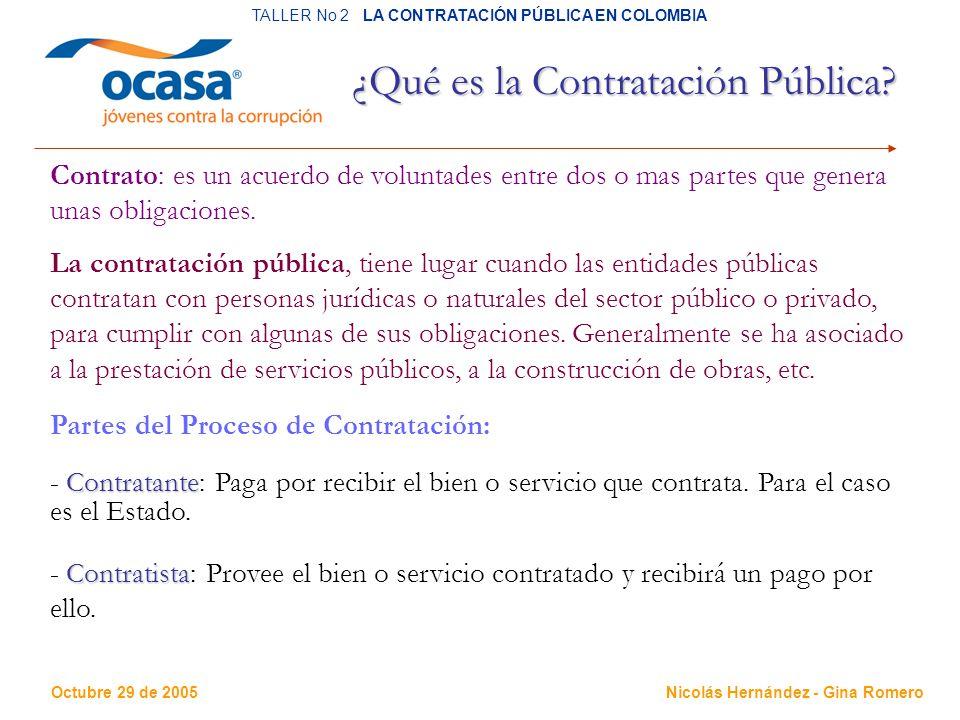 Octubre 29 de 2005 TALLER No 2 LA CONTRATACIÓN PÚBLICA EN COLOMBIA Nicolás Hernández - Gina Romero ¿Qué es la Contratación Pública.