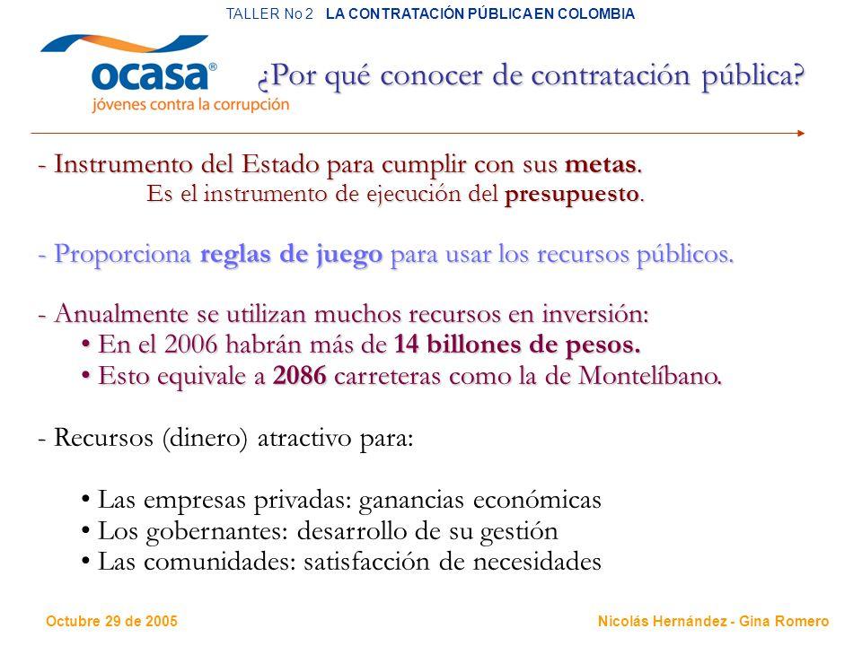 Octubre 29 de 2005 TALLER No 2 LA CONTRATACIÓN PÚBLICA EN COLOMBIA Nicolás Hernández - Gina Romero ¿Por qué conocer de contratación pública.
