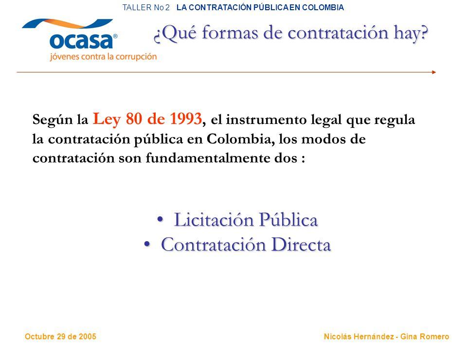 Octubre 29 de 2005 TALLER No 2 LA CONTRATACIÓN PÚBLICA EN COLOMBIA Nicolás Hernández - Gina Romero ¿Qué formas de contratación hay.
