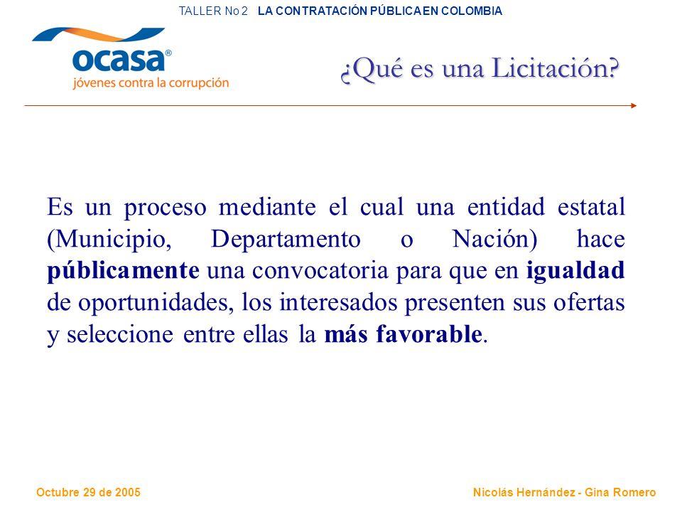 Octubre 29 de 2005 TALLER No 2 LA CONTRATACIÓN PÚBLICA EN COLOMBIA Nicolás Hernández - Gina Romero ¿Qué es una Licitación.