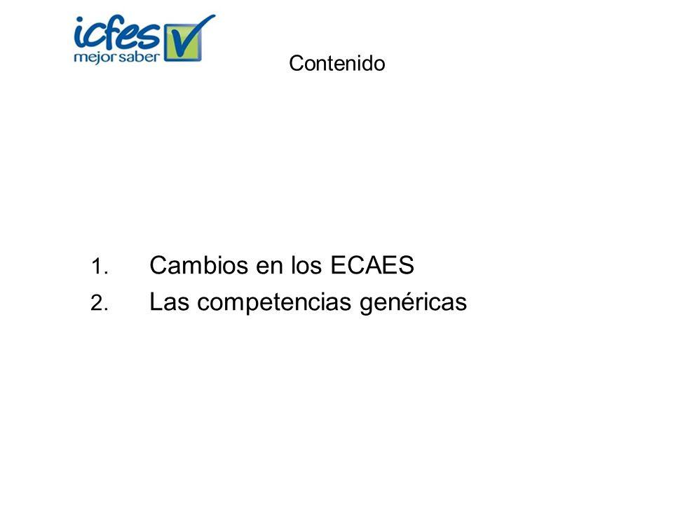 Contenido 1. Cambios en los ECAES 2. Las competencias genéricas