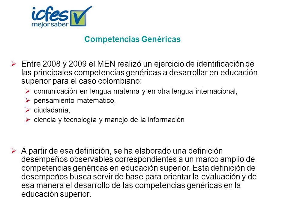 Competencias Genéricas Entre 2008 y 2009 el MEN realizó un ejercicio de identificación de las principales competencias genéricas a desarrollar en educ