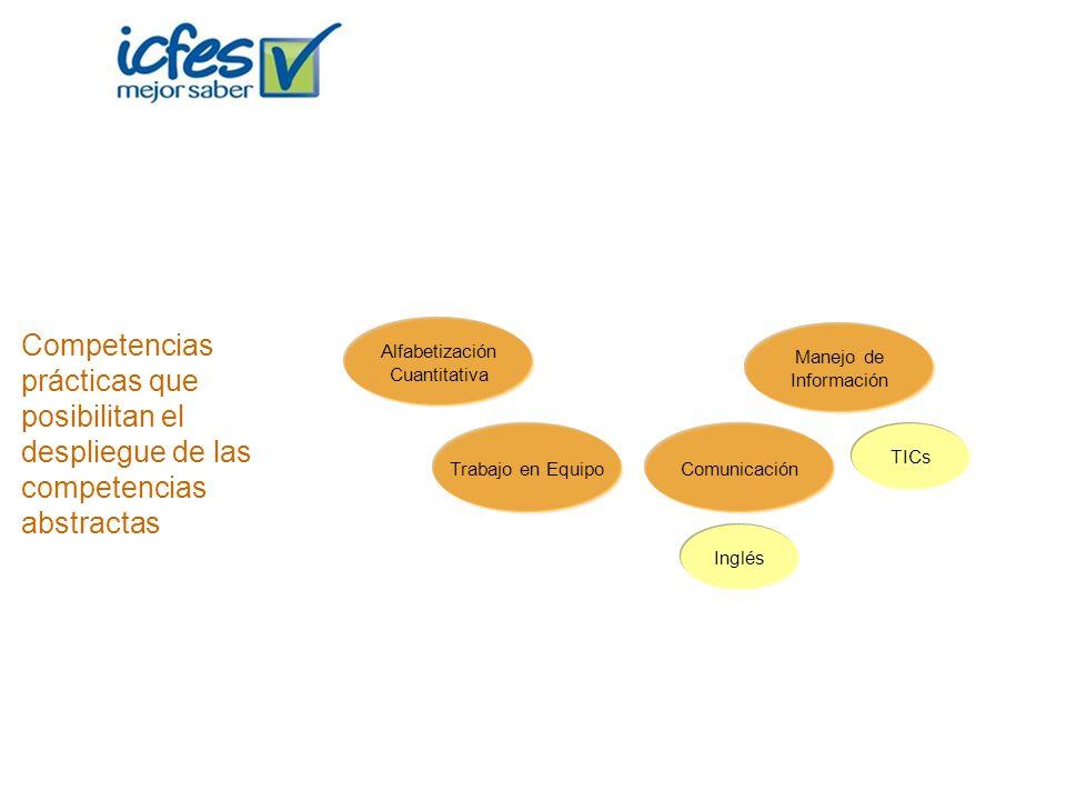 Alfabetización Cuantitativa Trabajo en EquipoComunicación Manejo de Información TICs Inglés Competencias prácticas que posibilitan el despliegue de la