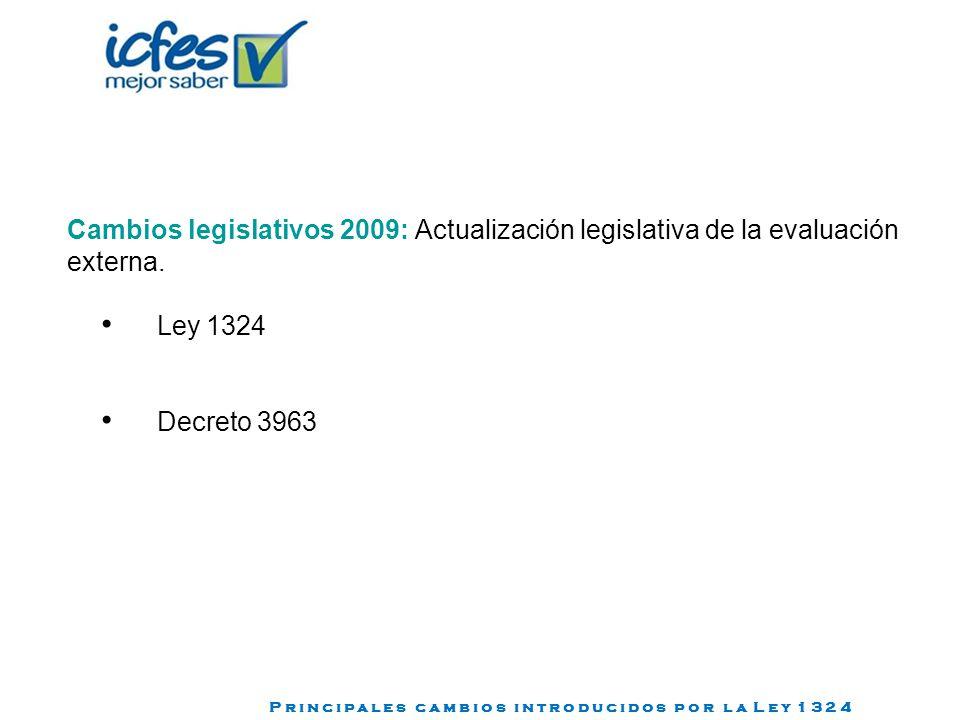 Cambios legislativos 2009: Actualización legislativa de la evaluación externa. Ley 1324 Decreto 3963 P r i n c i p a l e s c a m b i o s i n t r o d u