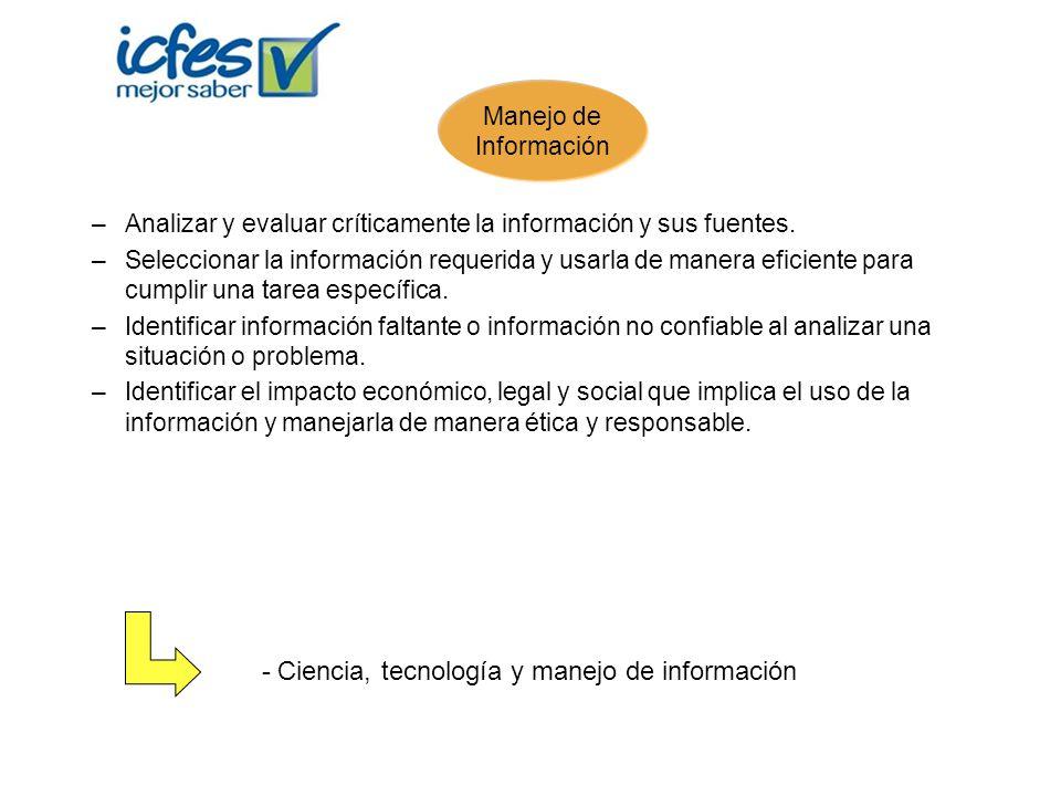 –Analizar y evaluar críticamente la información y sus fuentes. –Seleccionar la información requerida y usarla de manera eficiente para cumplir una tar