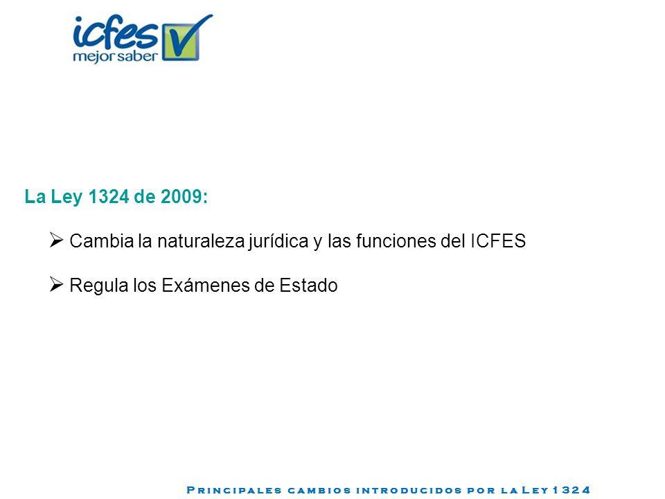 La Ley 1324 de 2009: Cambia la naturaleza jurídica y las funciones del ICFES Regula los Exámenes de Estado P r i n c i p a l e s c a m b i o s i n t r