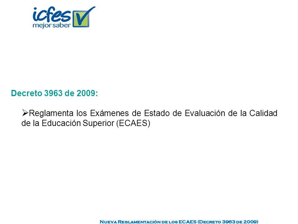 Decreto 3963 de 2009: Reglamenta los Exámenes de Estado de Evaluación de la Calidad de la Educación Superior (ECAES) Nueva Reglamentación de los ECAES