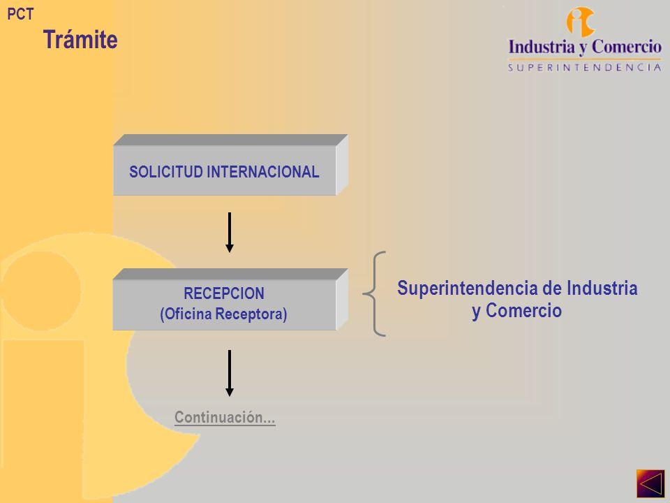 PCT Trámite SOLICITUD INTERNACIONAL RECEPCION (Oficina Receptora) Superintendencia de Industria y Comercio Continuación...