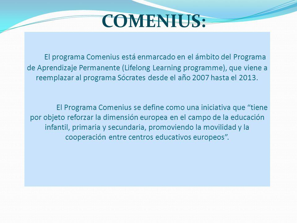 El programa Comenius está enmarcado en el ámbito del Programa de Aprendizaje Permanente (Lifelong Learning programme), que viene a reemplazar al progr