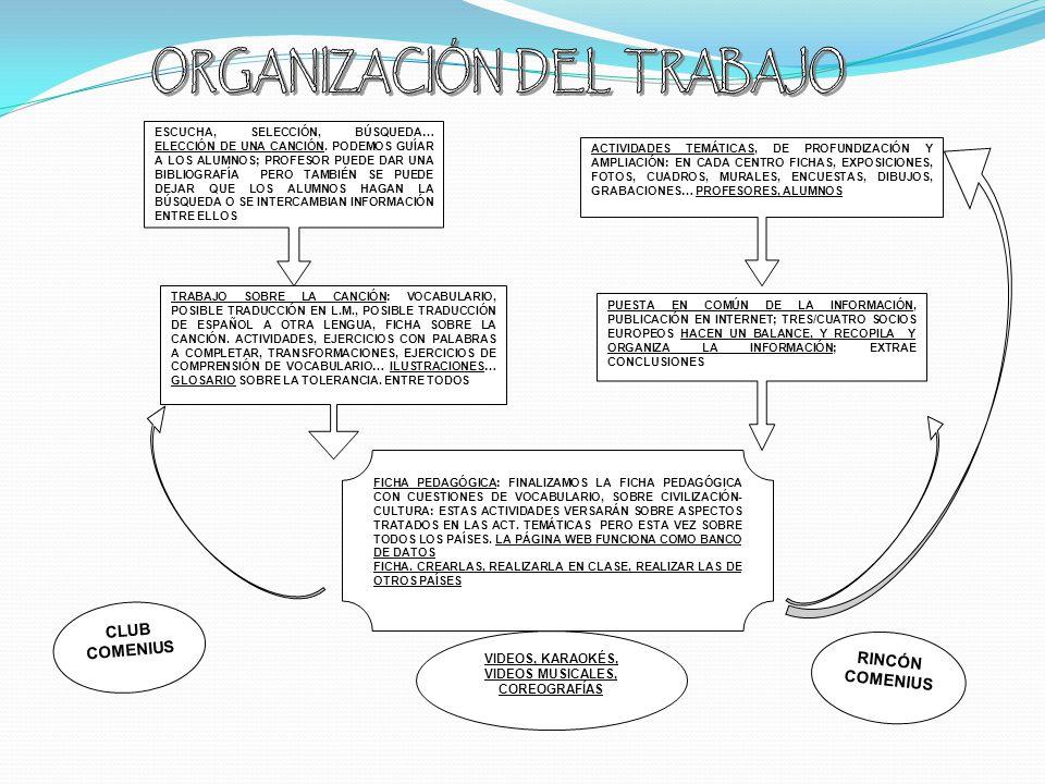 DISTRIBUCIÓN DE TAREAS EN EL CENTRO PROFESOR /A (MATERIA) ADMINISTRACIÓN, GESTION… 1) DIFUSIÓN DEL PROYECTO 2) LEVANTAR ACTAS DE LAS REUNIONES EN INGLÉS 3) EVALUACIÓN DEL PROYECTO EVALUACIÓN INICIAL OTROS CUESTIONARIOS 4) ESTADÍSTICAS EVALUACIONES CUESTIONARIOS 5) DIARIO DEL PROYECTO (COMENTARIOS, FOTOS..EN ) TEMÁTICAS: ASPECTOS Y VALORES TRATADOS PRIMER TRIMESTRE: ESTEREOTIPOS, TOLERANCIA, RESPETO, SOLIDARIDAD.