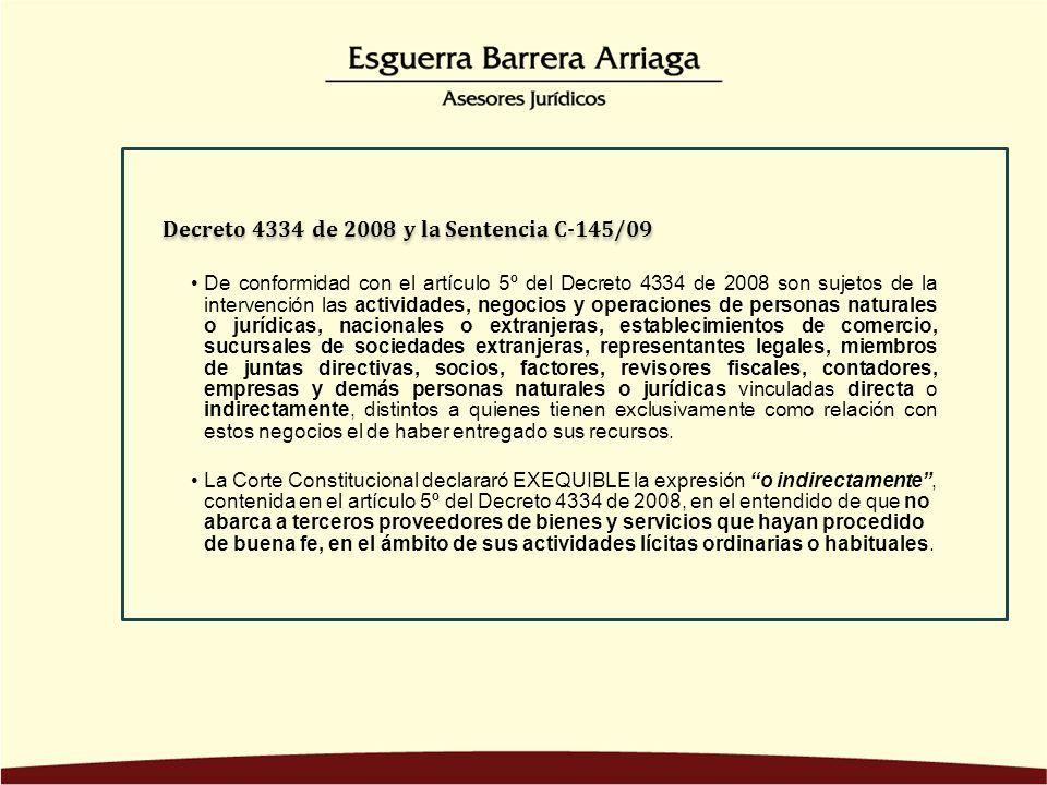 De conformidad con el artículo 5º del Decreto 4334 de 2008 son sujetos de la intervención las actividades, negocios y operaciones de personas naturale
