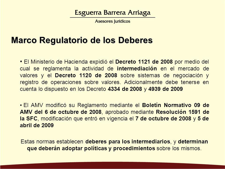 El Ministerio de Hacienda expidió el Decreto 1121 de 2008 por medio del cual se reglamenta la actividad de intermediación en el mercado de valores y el Decreto 1120 de 2008 sobre sistemas de negociación y registro de operaciones sobre valores.