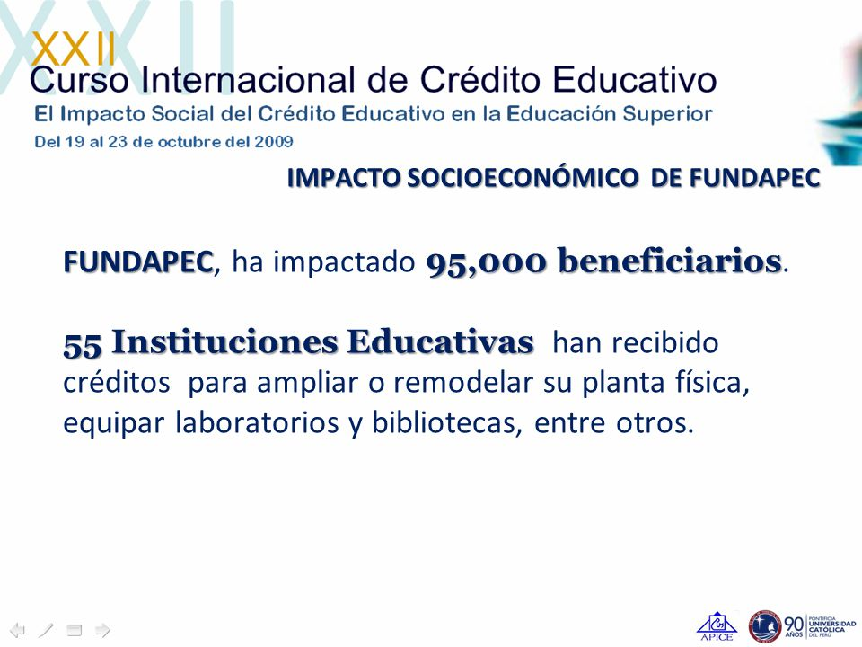 FUNDAPEC 95,000 beneficiarios FUNDAPEC, ha impactado 95,000 beneficiarios.