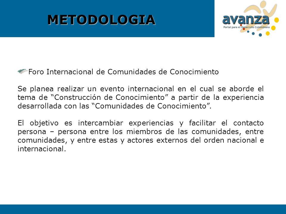 Foro Internacional de Comunidades de Conocimiento Se planea realizar un evento internacional en el cual se aborde el tema de Construcción de Conocimie