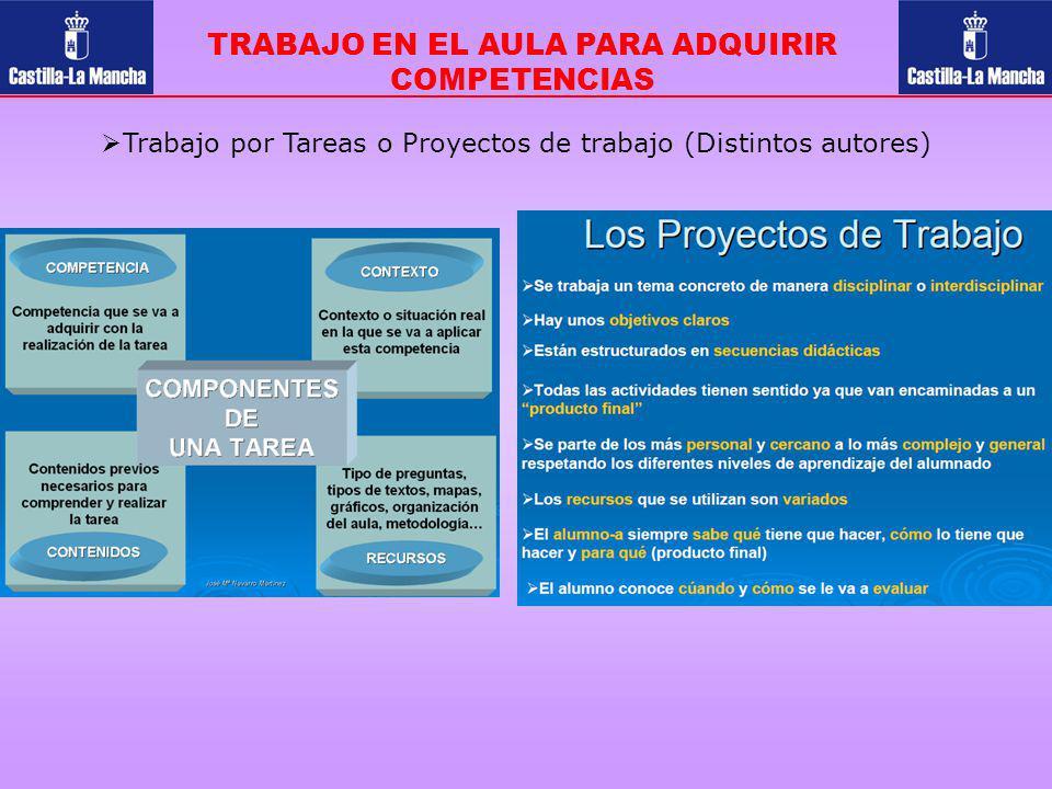 TRABAJO EN EL AULA PARA ADQUIRIR COMPETENCIAS Trabajo por Tareas o Proyectos de trabajo (Distintos autores)