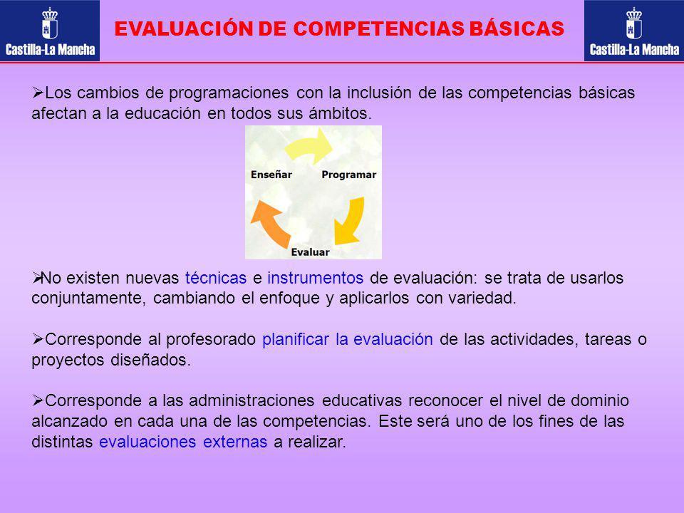 EVALUACIÓN DE COMPETENCIAS BÁSICAS Los cambios de programaciones con la inclusión de las competencias básicas afectan a la educación en todos sus ámbi