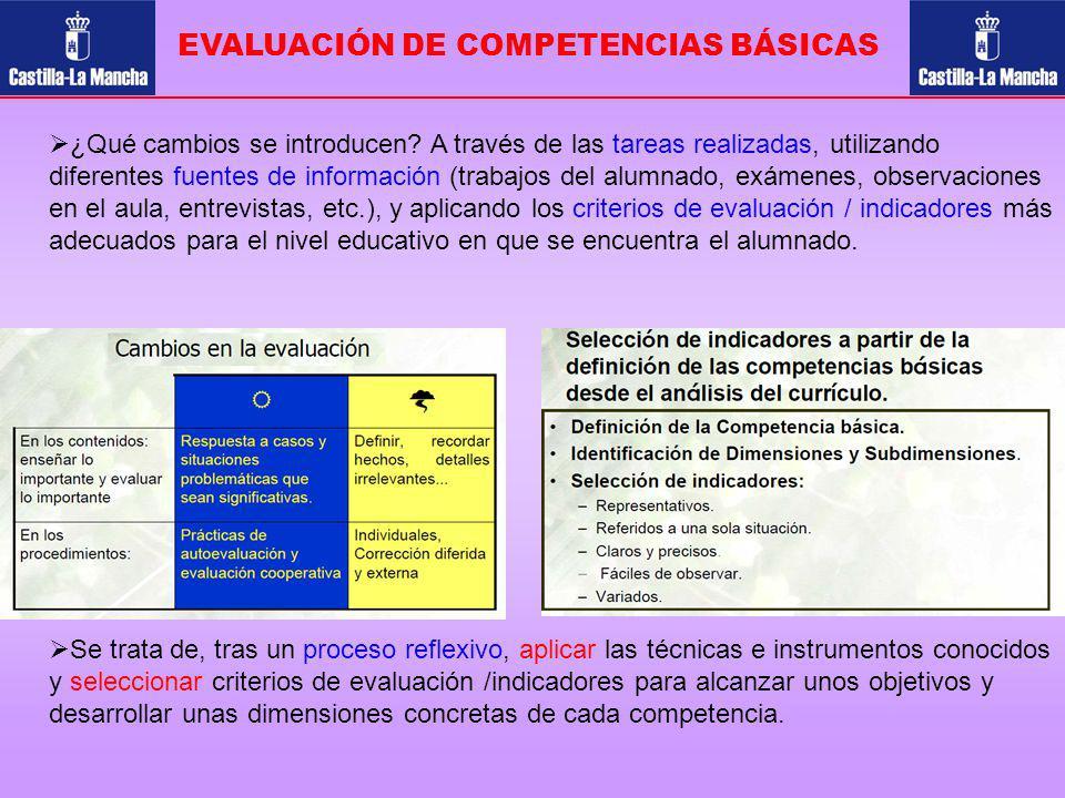 EVALUACIÓN DE COMPETENCIAS BÁSICAS ¿Qué cambios se introducen? A través de las tareas realizadas, utilizando diferentes fuentes de información (trabaj