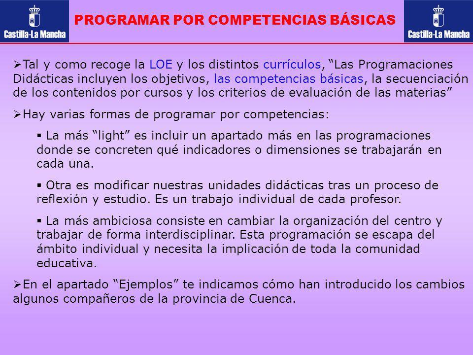 PROGRAMAR POR COMPETENCIAS BÁSICAS Tal y como recoge la LOE y los distintos currículos, Las Programaciones Didácticas incluyen los objetivos, las comp