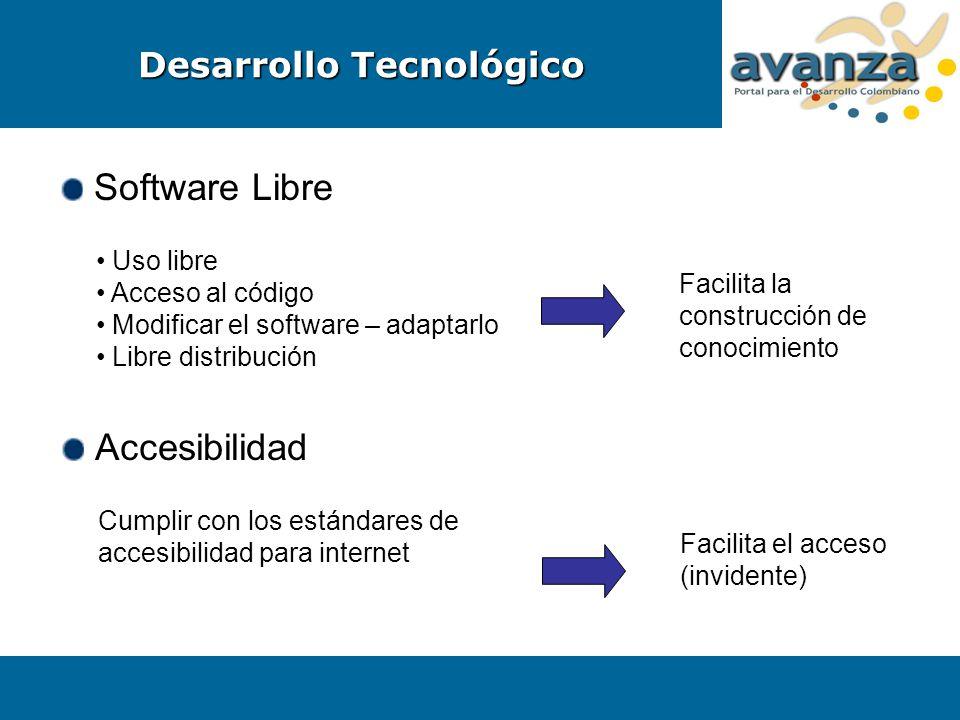 Software Libre Uso libre Acceso al código Modificar el software – adaptarlo Libre distribución Facilita la construcción de conocimiento Accesibilidad