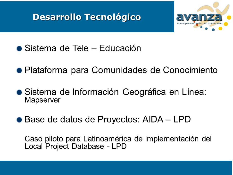 Sistema de Tele – Educación Plataforma para Comunidades de Conocimiento Sistema de Información Geográfica en Línea: Mapserver Base de datos de Proyect