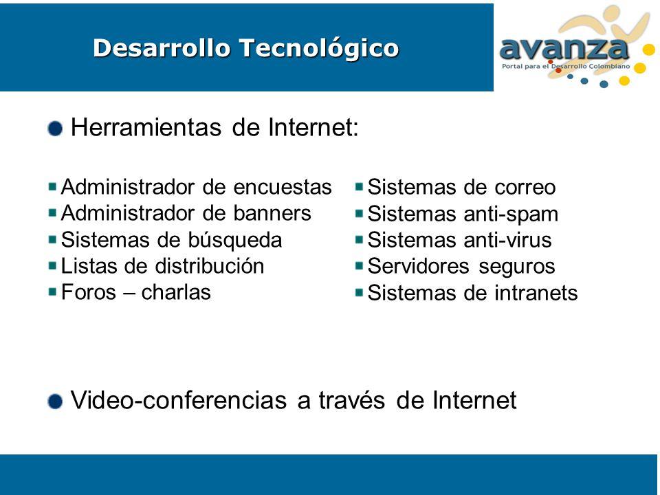 Herramientas de Internet: Administrador de encuestas Administrador de banners Sistemas de búsqueda Listas de distribución Foros – charlas Video-confer
