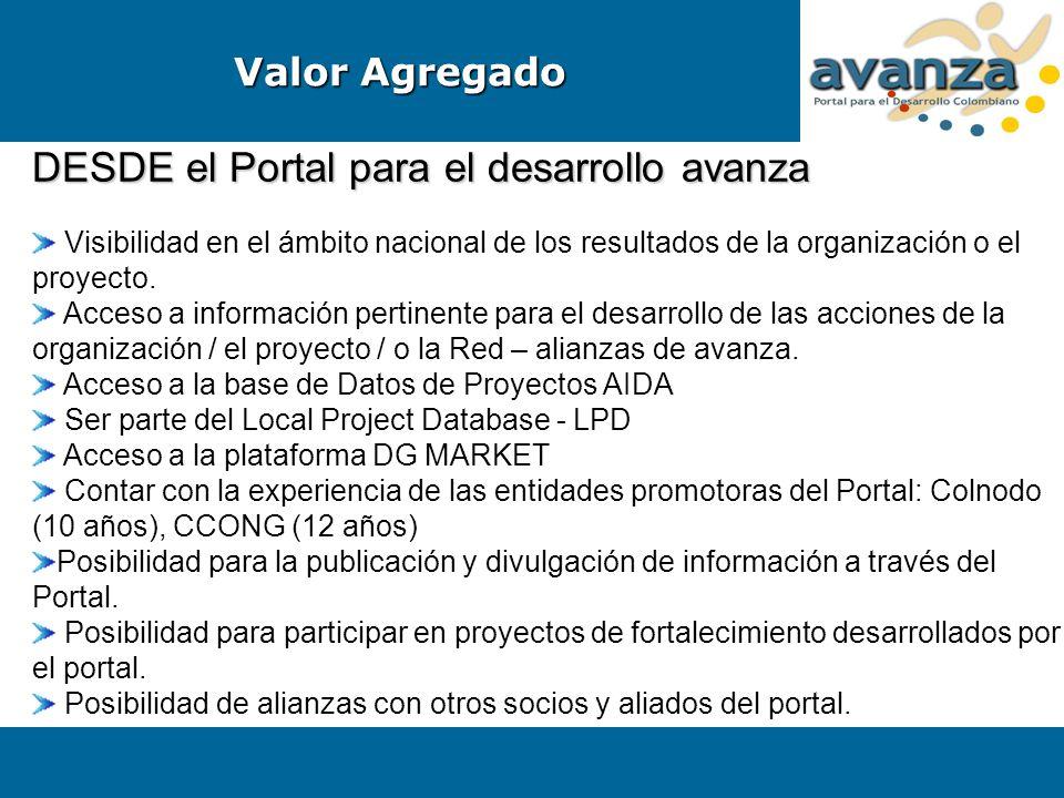 DESDE el Portal para el desarrollo avanza Visibilidad en el ámbito nacional de los resultados de la organización o el proyecto. Acceso a información p