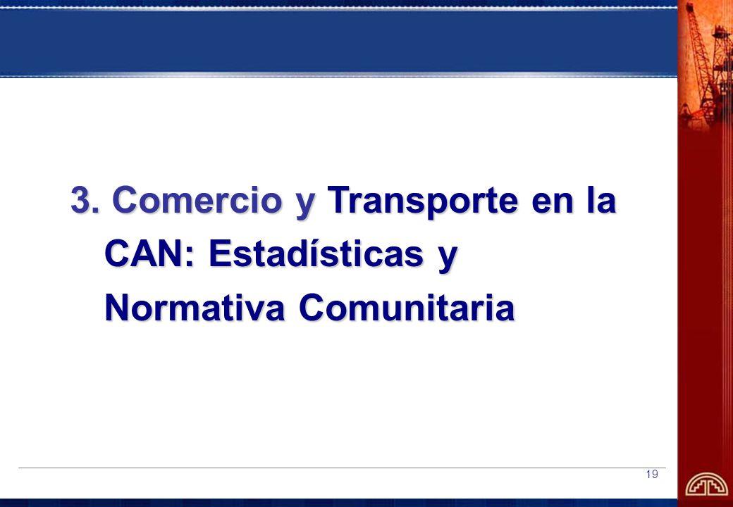 19 3. Comercio y Transporte en la CAN: Estadísticas y Normativa Comunitaria