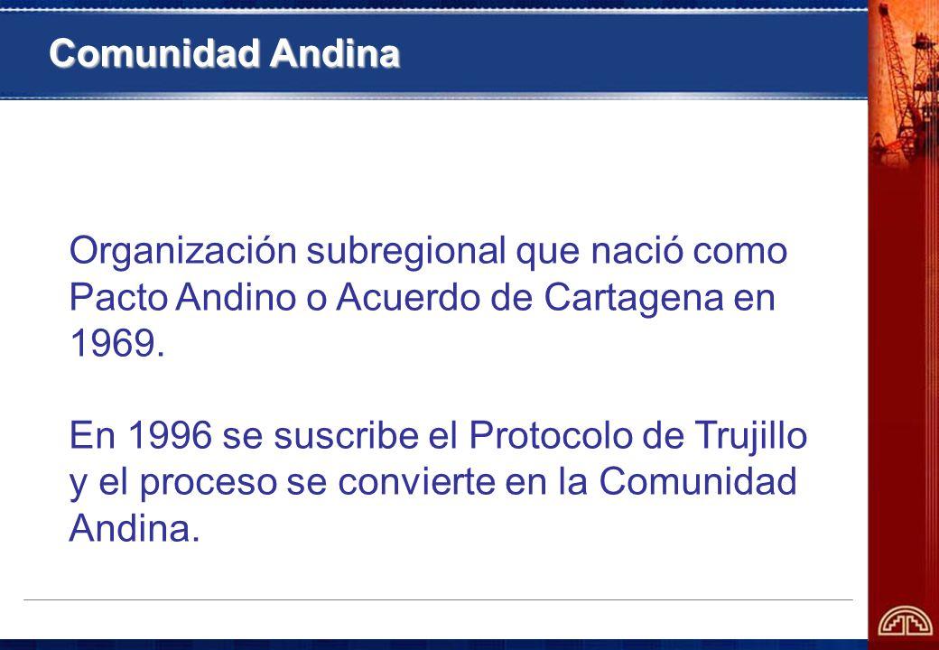 Introducción Organización subregional que nació como Pacto Andino o Acuerdo de Cartagena en 1969.