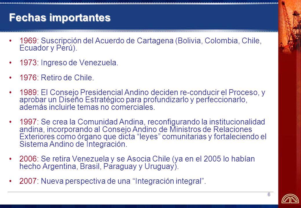 6 Fechas importantes 1969: Suscripción del Acuerdo de Cartagena (Bolivia, Colombia, Chile, Ecuador y Perú).