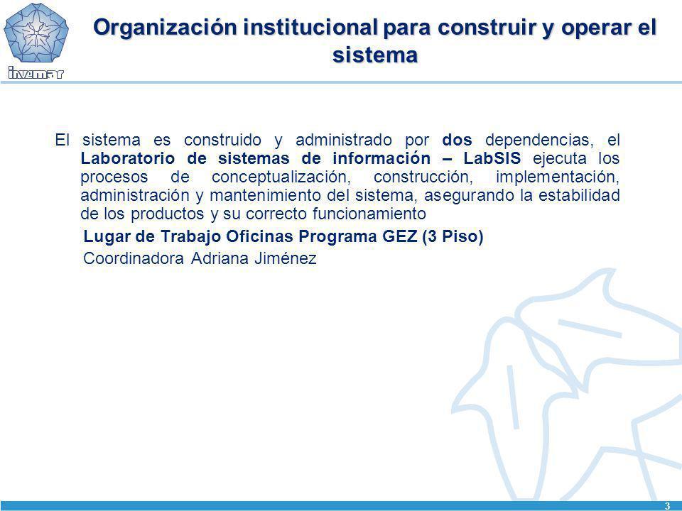 3 Organización institucional para construir y operar el sistema El sistema es construido y administrado por dos dependencias, el Laboratorio de sistem