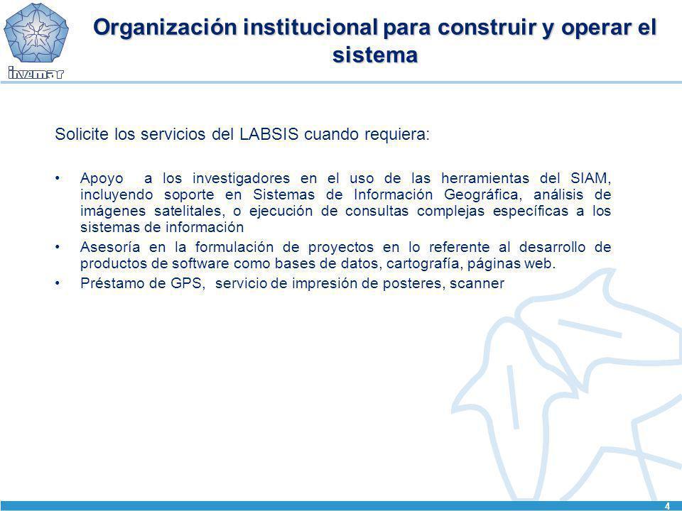 4 Organización institucional para construir y operar el sistema Solicite los servicios del LABSIS cuando requiera: Apoyo a los investigadores en el us
