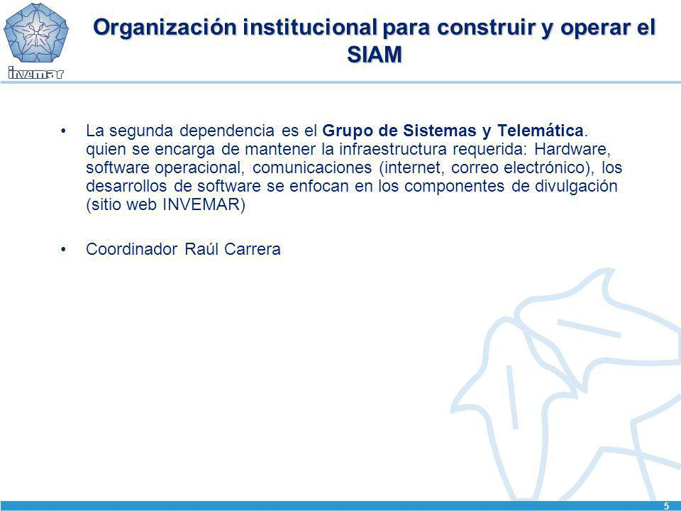 5 Organización institucional para construir y operar el SIAM La segunda dependencia es el Grupo de Sistemas y Telemática. quien se encarga de mantener