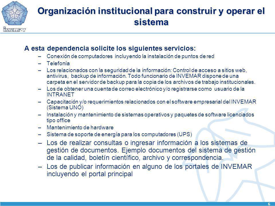 6 Organización institucional para construir y operar el sistema A esta dependencia solicite los siguientes servicios: –Conexión de computadores incluy
