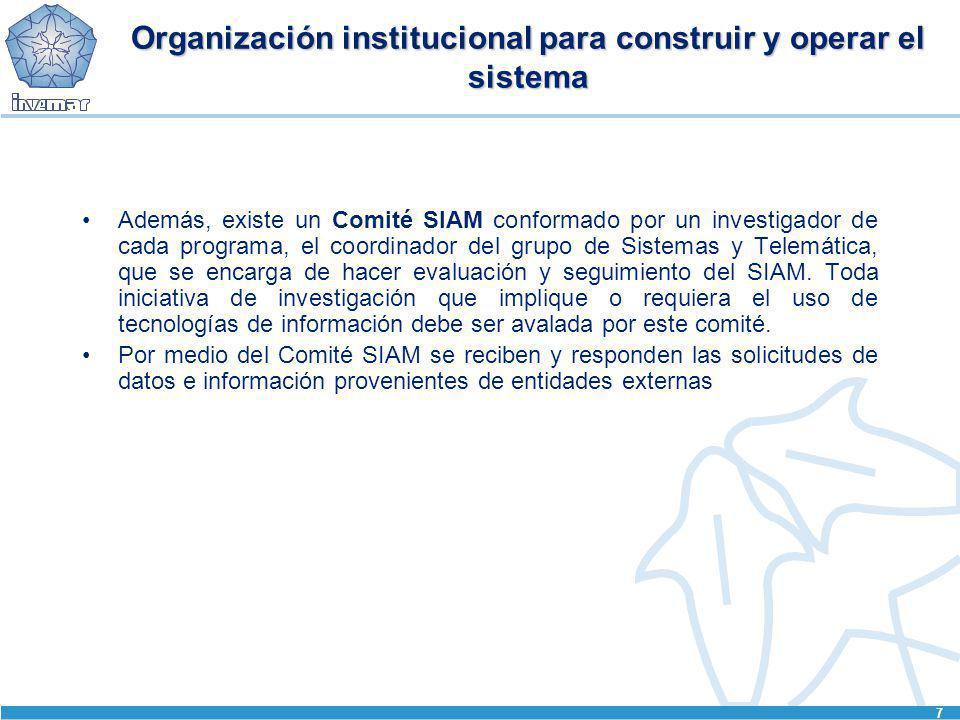 7 Organización institucional para construir y operar el sistema Además, existe un Comité SIAM conformado por un investigador de cada programa, el coor