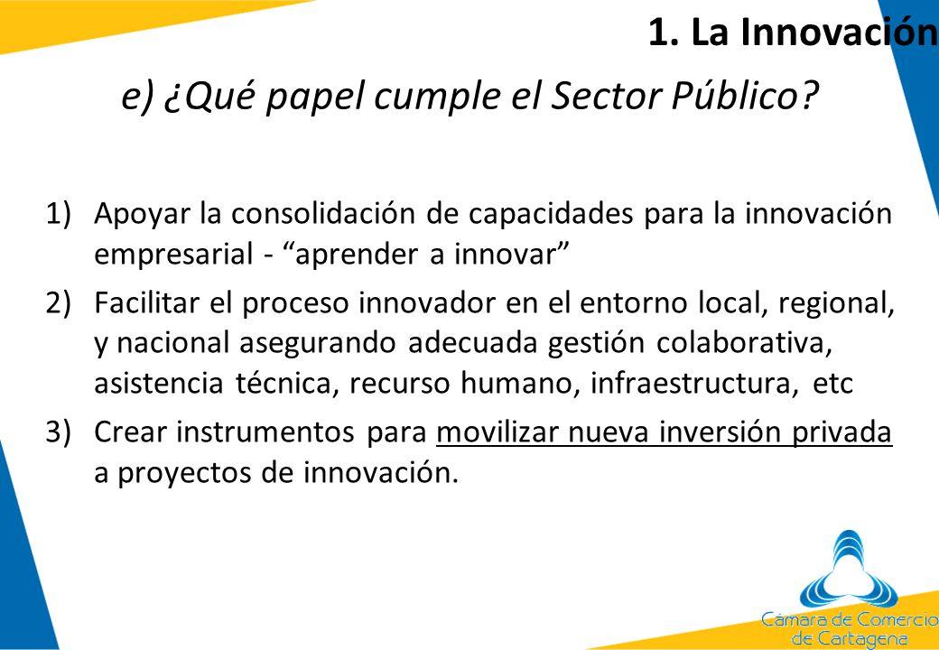 e) ¿Qué papel cumple el Sector Público? 1)Apoyar la consolidación de capacidades para la innovación empresarial - aprender a innovar 2)Facilitar el pr