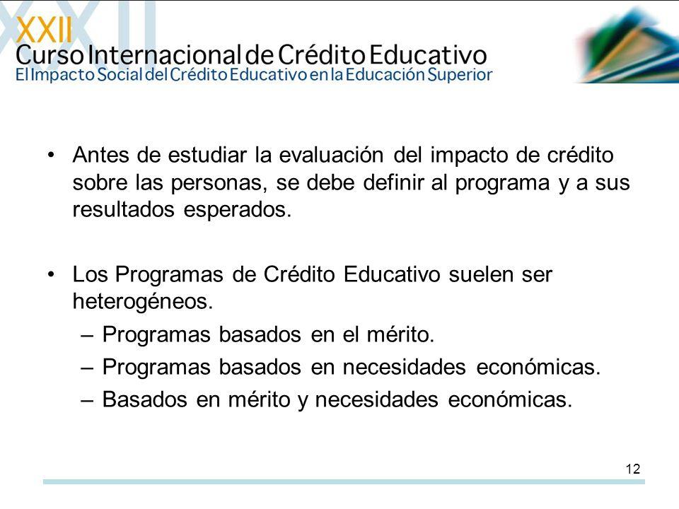 12 Antes de estudiar la evaluación del impacto de crédito sobre las personas, se debe definir al programa y a sus resultados esperados.