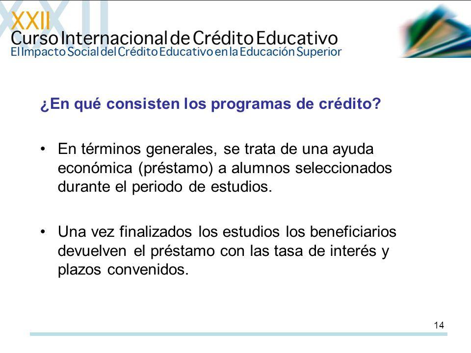 14 ¿En qué consisten los programas de crédito.