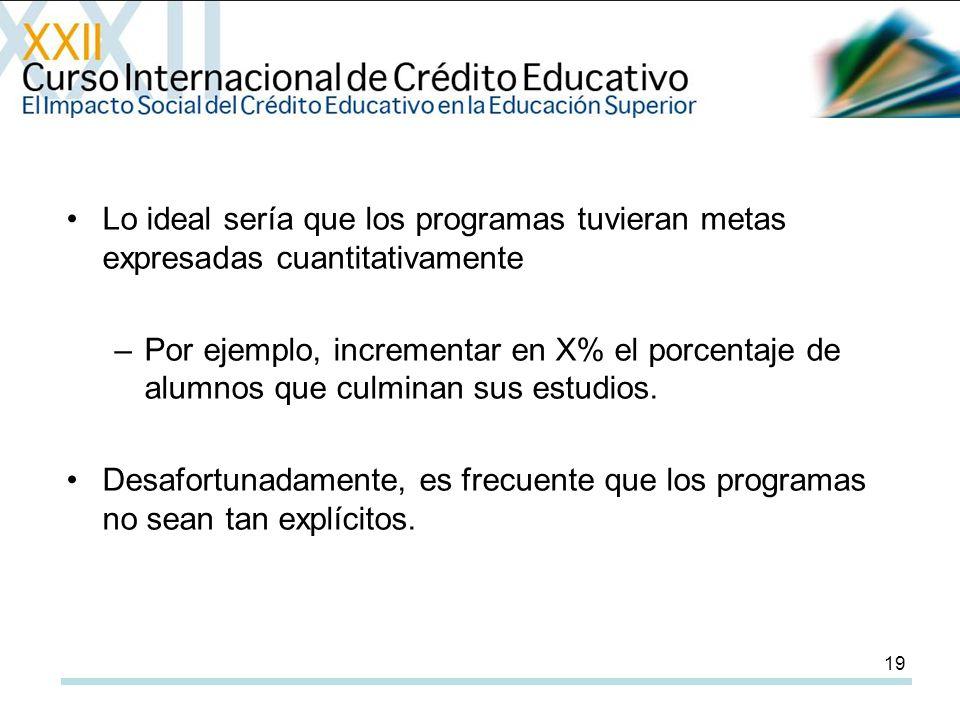 19 Lo ideal sería que los programas tuvieran metas expresadas cuantitativamente –Por ejemplo, incrementar en X% el porcentaje de alumnos que culminan sus estudios.