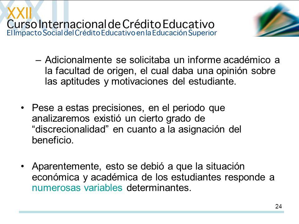 24 –Adicionalmente se solicitaba un informe académico a la facultad de origen, el cual daba una opinión sobre las aptitudes y motivaciones del estudiante.