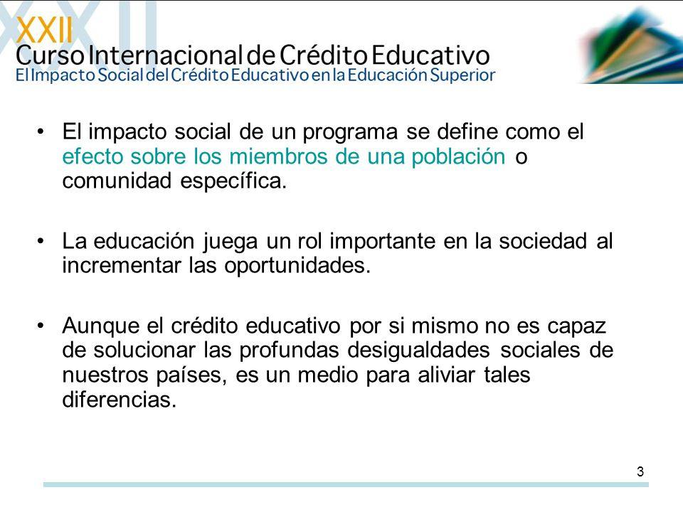 3 El impacto social de un programa se define como el efecto sobre los miembros de una población o comunidad específica.