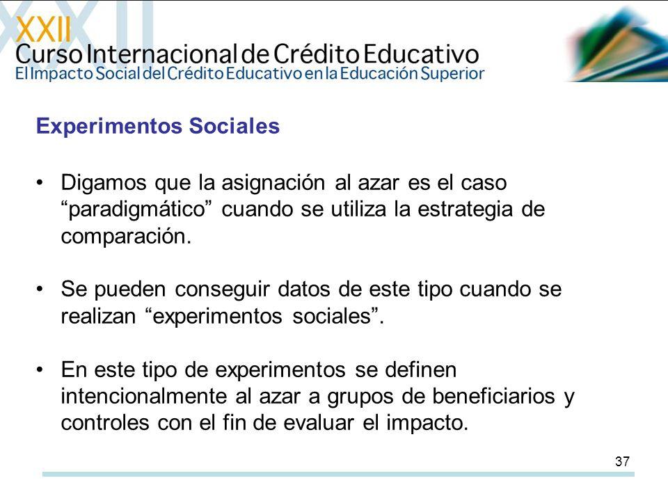 37 Experimentos Sociales Digamos que la asignación al azar es el caso paradigmático cuando se utiliza la estrategia de comparación.