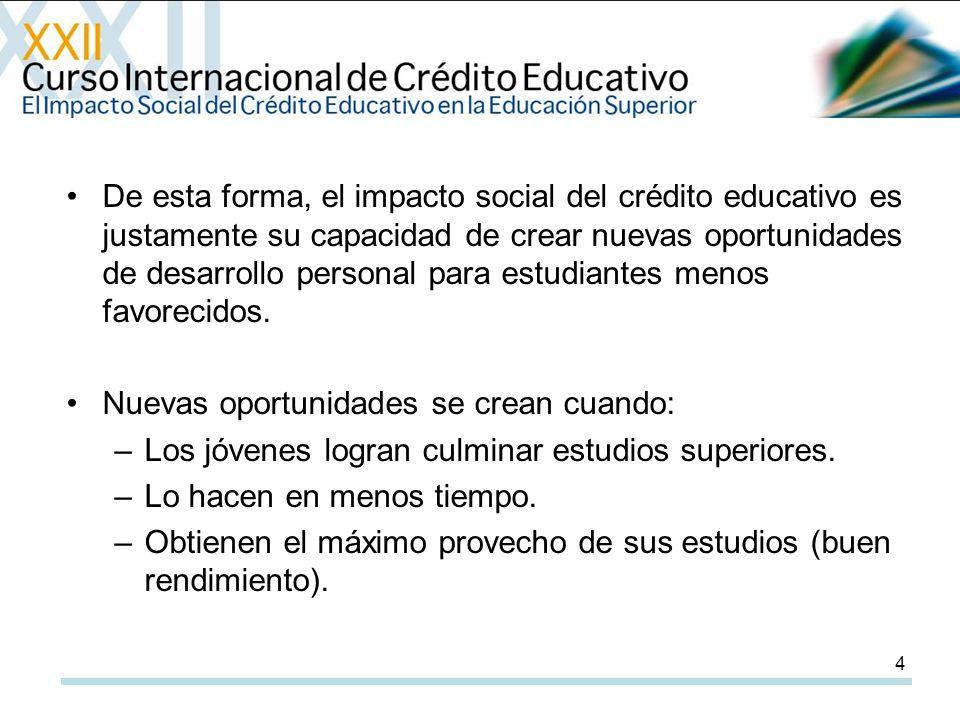 4 De esta forma, el impacto social del crédito educativo es justamente su capacidad de crear nuevas oportunidades de desarrollo personal para estudiantes menos favorecidos.