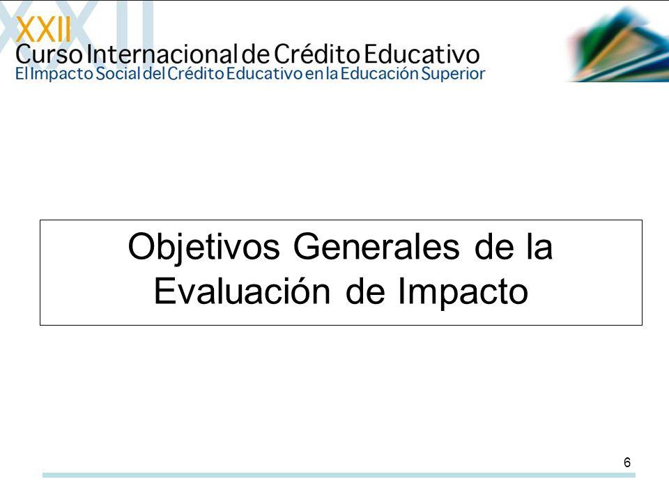 6 Objetivos Generales de la Evaluación de Impacto