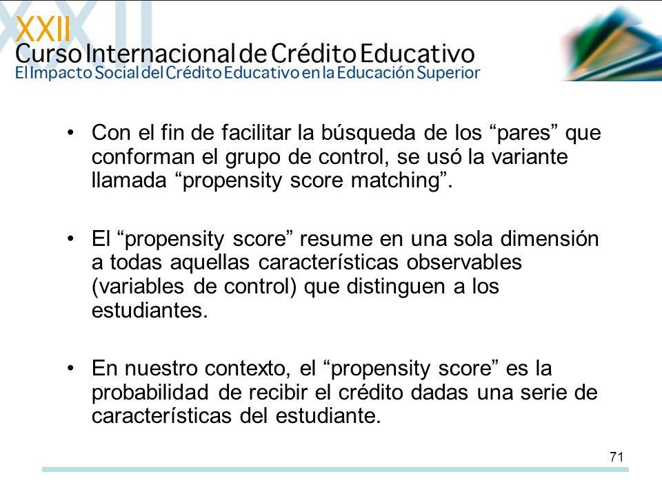 71 Con el fin de facilitar la búsqueda de los pares que conforman el grupo de control, se usó la variante llamada propensity score matching.