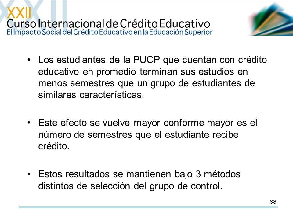 88 Los estudiantes de la PUCP que cuentan con crédito educativo en promedio terminan sus estudios en menos semestres que un grupo de estudiantes de similares características.