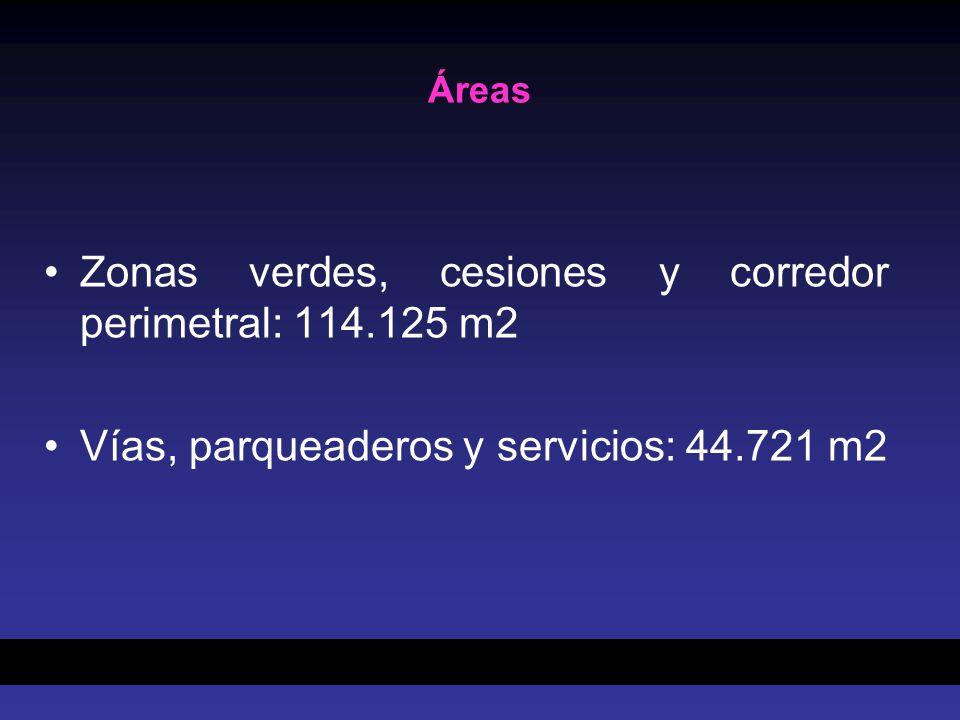 Áreas Zonas verdes, cesiones y corredor perimetral: 114.125 m2 Vías, parqueaderos y servicios: 44.721 m2