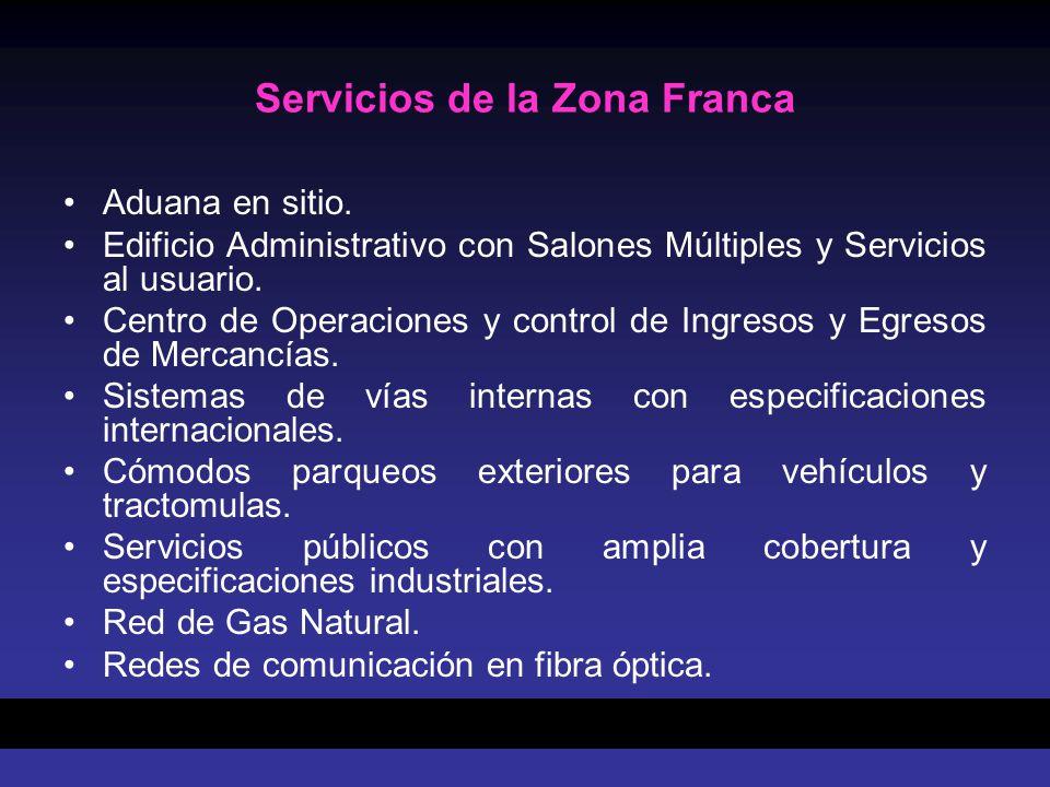 Servicios de la Zona Franca Aduana en sitio. Edificio Administrativo con Salones Múltiples y Servicios al usuario. Centro de Operaciones y control de