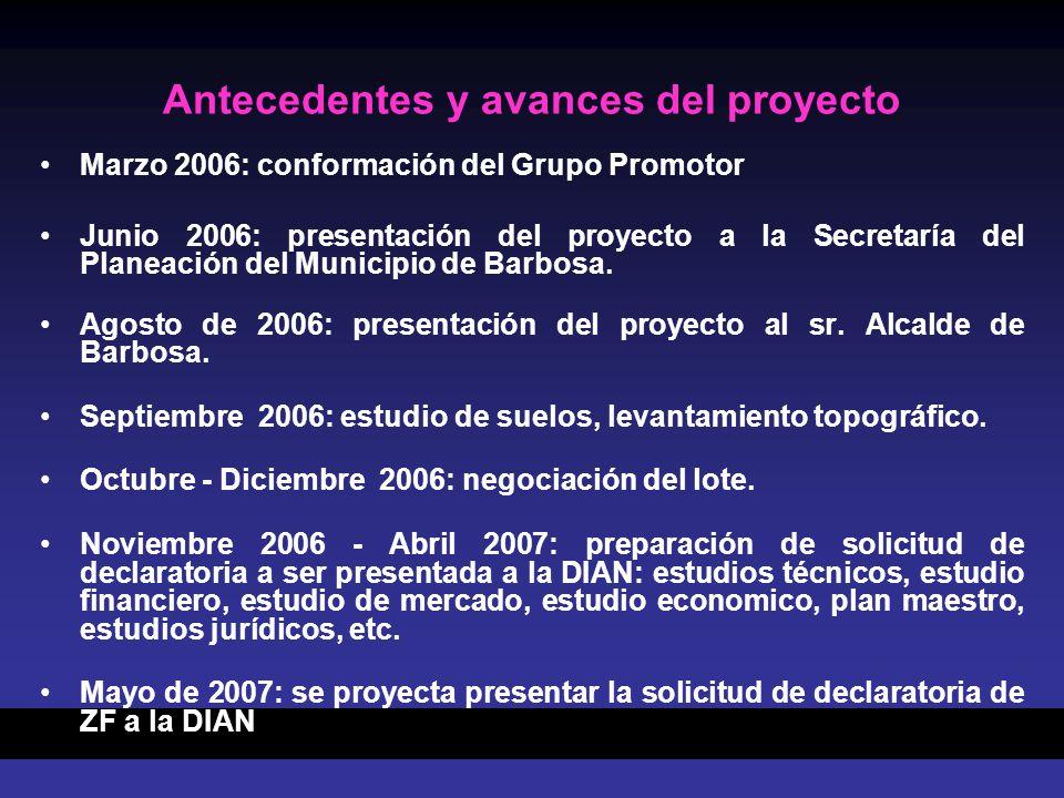 Antecedentes y avances del proyecto Marzo 2006: conformación del Grupo Promotor Junio 2006: presentación del proyecto a la Secretaría del Planeación del Municipio de Barbosa.