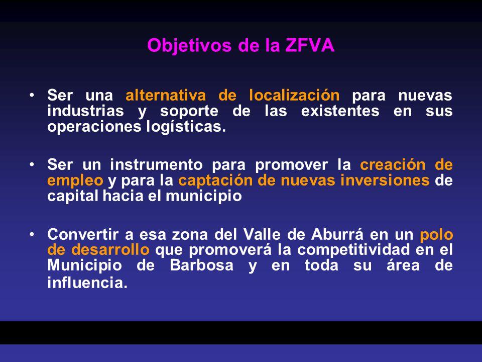 Objetivos de la ZFVA Ser una alternativa de localización para nuevas industrias y soporte de las existentes en sus operaciones logísticas. Ser un inst